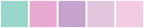 Color Scheme with #9BD6CC #E9AAD1 #C4A4CD #E2C6DD #F4CBE4
