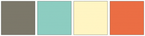 Color Scheme with #7C786A #8DCDC1 #FFF5C3 #EB6E44