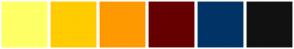 Color Scheme with #FFFF66 #FFCC00 #FF9900 #660000 #003366 #111111
