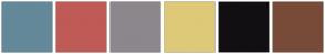 Color Scheme with #638999 #BF5B56 #8C878C #DEC978 #120F12 #784B38