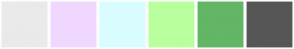 Color Scheme with #EAEAEA #F0D7FF #D9FDFF #B9FF9E #62B665 #565656