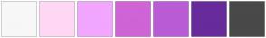 Color Scheme with #F7F7F7 #FFD7F5 #F2A6FF #CF64D6 #B95CD6 #682B9C #494949