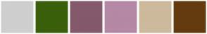 Color Scheme with #CECFCE #3A5F0B #84596B #B588A5 #CDB99C #643B0F