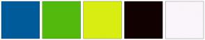 Color Scheme with #005B9A #53BA0D #D9ED13 #120101 #FAF5FA