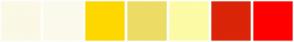 Color Scheme with #FBF8E6 #FBFAEC #FFD700 #ECDC65 #FDFBA6 #DB2408 #FF0000