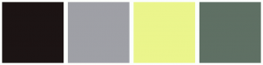 Color Scheme with #1C1414 #9FA0A6 #EBF58C #5F7064