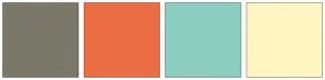 Color Scheme with #7C786A #EB6E44 #8DCDC1 #FFF5C3