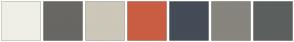 Color Scheme with #F0EFE6 #686763 #CCC7B9 #C95E42 #444C57 #87857D #5B605F