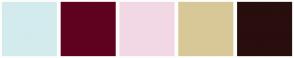 Color Scheme with #D3EBED #5F021F #F2D8E5 #D9C897 #290E0E