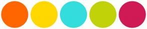 Color Scheme with #FF6600 #FFD800 #34DDDD #C1D208 #D01A55
