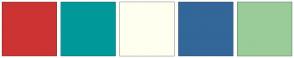 Color Scheme with #CC3333 #009999 #FFFFF0 #336699 #99CC99