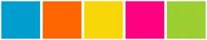 Color Scheme with #009ECE #FF6600 #F7D708 #FF0080 #9CCF31