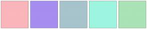 Color Scheme with #FAB6BA #A68DF0 #A7C3CC #9DF5DF #AAE3B5