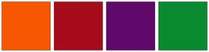 Color Scheme with #F75700 #A60C1B #61096B #0A8A30
