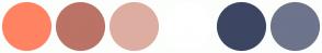 Color Scheme with #FF8362 #BB7365 #DEADA1 #FFFFFF #3C4663 #6D748C