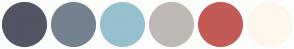 Color Scheme with #525564 #74828F #96C0CE #BEB9B5 #C25B56 #FEF6EB