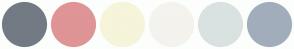 Color Scheme with #727B84 #DF9496 #F6F4DA #F4F3EE #D9E2E1 #A2ADBC