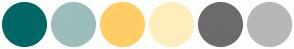 Color Scheme with #006666 #9DBCBC #FFCC66 #FFEEBB #6B6B6B #B7B7B7
