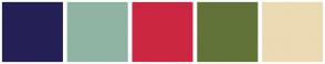 Color Scheme with #242055 #8FB4A3 #CC2742 #617339 #ECDAB2