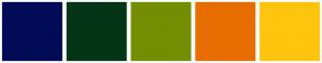 Color Scheme with #020B56 #043517 #758D01 #E86E01 #FFC40E