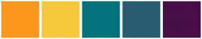 Color Scheme with #FB971D #F7C83C #01737D #285C71 #480E48