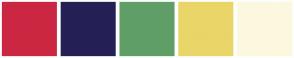 Color Scheme with #CC2742 #242055 #609E67 #EAD568 #FCF8DF