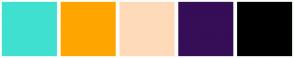 Color Scheme with #40E0D0 #FFA500 #FFDAB9 #350E57 #000000