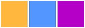 Color Scheme with #FFB83D #5496FF #B500C7
