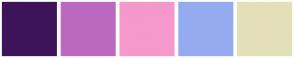 Color Scheme with #3D1459 #BB69BF #F598CB #95ABF0 #E3DFB8