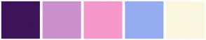 Color Scheme with #3D1459 #CB91CE #F598CB #95ABF0 #FAF6DE