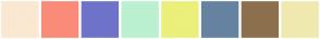 Color Scheme with #FAE8D2 #FA8B78 #6F73C9 #BBF0D0 #EAF07A #6583A1 #8C704D #F0E9AF