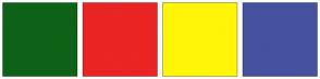 Color Scheme with #0E6217 #EB2424 #FFF509 #46529E