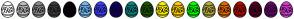 Color Scheme with #FFFFFF #BBBCBF #87888C #3C3C3D #050005 #72B8F2 #3E3EFA #110263 #0C8282 #1A5402 #FAEE00 #FFCC00 #00FF00 #B5A93C #E36905 #B00C04 #520326 #66096B #D33DD1