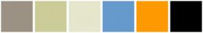 Color Scheme with #9C9284 #CCCC99 #E6E6CC #6699CC #FF9900 #000000