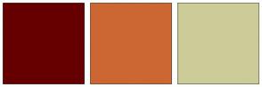 Color Scheme with #660000 #CC6633 #CCCC99