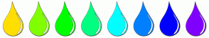 Color Scheme with #FFDE00 #80FF00 #00FF00 #00FF80 #00FFFF #0080FF #0000FF #8000FF