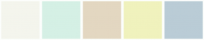 Color Scheme with #F4F5ED #D5F0E5 #E3D7C1 #F0F2BD #BACCD6