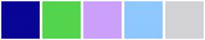 Color Scheme with #090596 #53D44C #CBA0FA #8FC7FF #D2D2D6