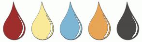 Color Scheme with #9D2E2C #F9EA99 #7DB6D5 #E7A555 #4A4747
