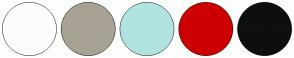 Color Scheme with #FCFCFC #A8A294 #B1E3E0 #CC0000 #0E0F0F