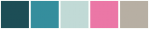 Color Scheme with #1D4E56 #358E9D #C1DAD6 #EB77A6 #B7AFA3