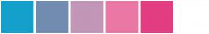 Color Scheme with #13A1CB #728CB0 #C296B6 #EB77A6 #E23D80 #FFFFFF