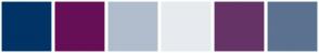Color Scheme with #003366 #660F57 #B1BDCD #E7EBF0 #663366 #5B7290