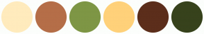Color Scheme with #FFEBBD #B56E48 #7E9645 #FFD17A #5C2E1B #37421C