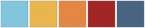 Color Scheme with #81C6DD #E9B64D #E48743 #A32626 #496480