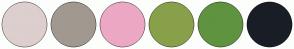 Color Scheme with #DDCFCE #A19990 #ECA8C4 #89A04A #5F933F #191E26