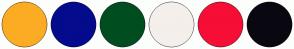 Color Scheme with #FCAC23 #040B8D #004D1F #F4EFEB #F60E36 #090810