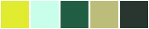 Color Scheme with #E1EB2F #C7FFEB #215E43 #BDBD7B #293630