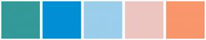 Color Scheme with #339999 #008FD5 #9ACEEB #ECC5C0 #F9966B