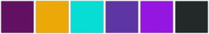 Color Scheme with #621163 #ECA907 #07DDD4 #5E36A3 #9616E1 #232929